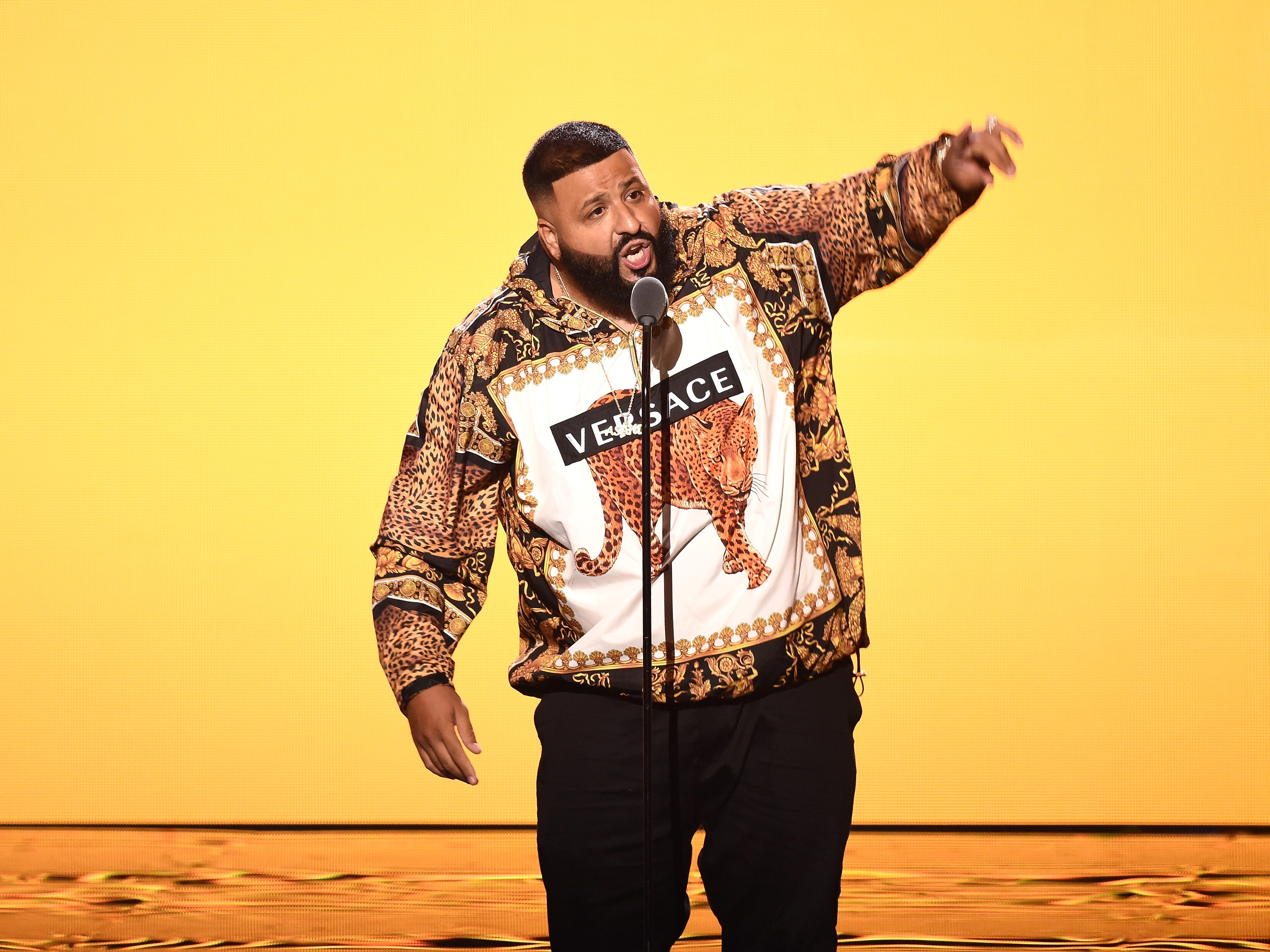 NEW YORK, NY - AUGUST 20:  DJ Khaled speaks onstage during the 2018 MTV Video Music Awards at Radio City Music Hall on August 20, 2018 in New York City.  (Photo by Michael Loccisano/Getty Images for MTV) ORG XMIT: 775210297 ORIG FILE ID: 1020392276