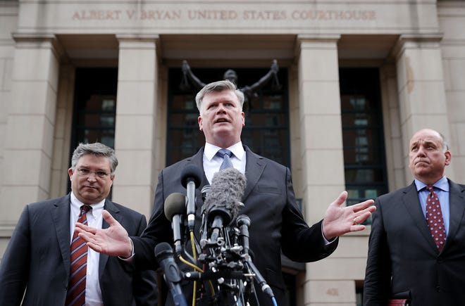 From left, Richard Westling, Kevin Downing and Thomas Zehnle, attorneys for former Trump campaign chairman Paul Manafort, talk to reporters outside the Albert V. Bryan U.S. Courthouse after the jury announced a verdict Aug. 21, 2018 in Alexandria, Va.