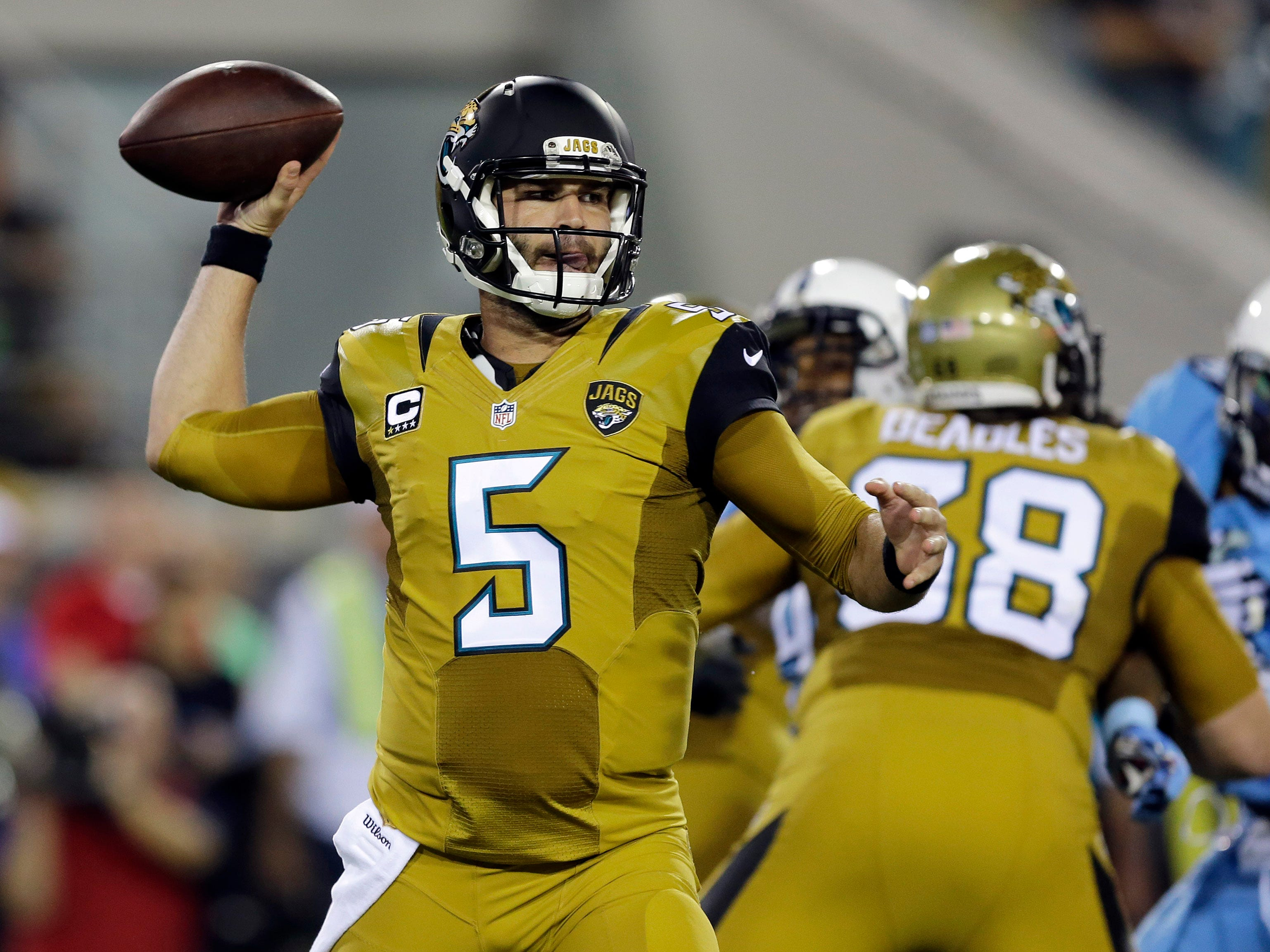 Quarterback Blake Bortles wearing the Jaguars' spicy mustard uniforms in 2015.
