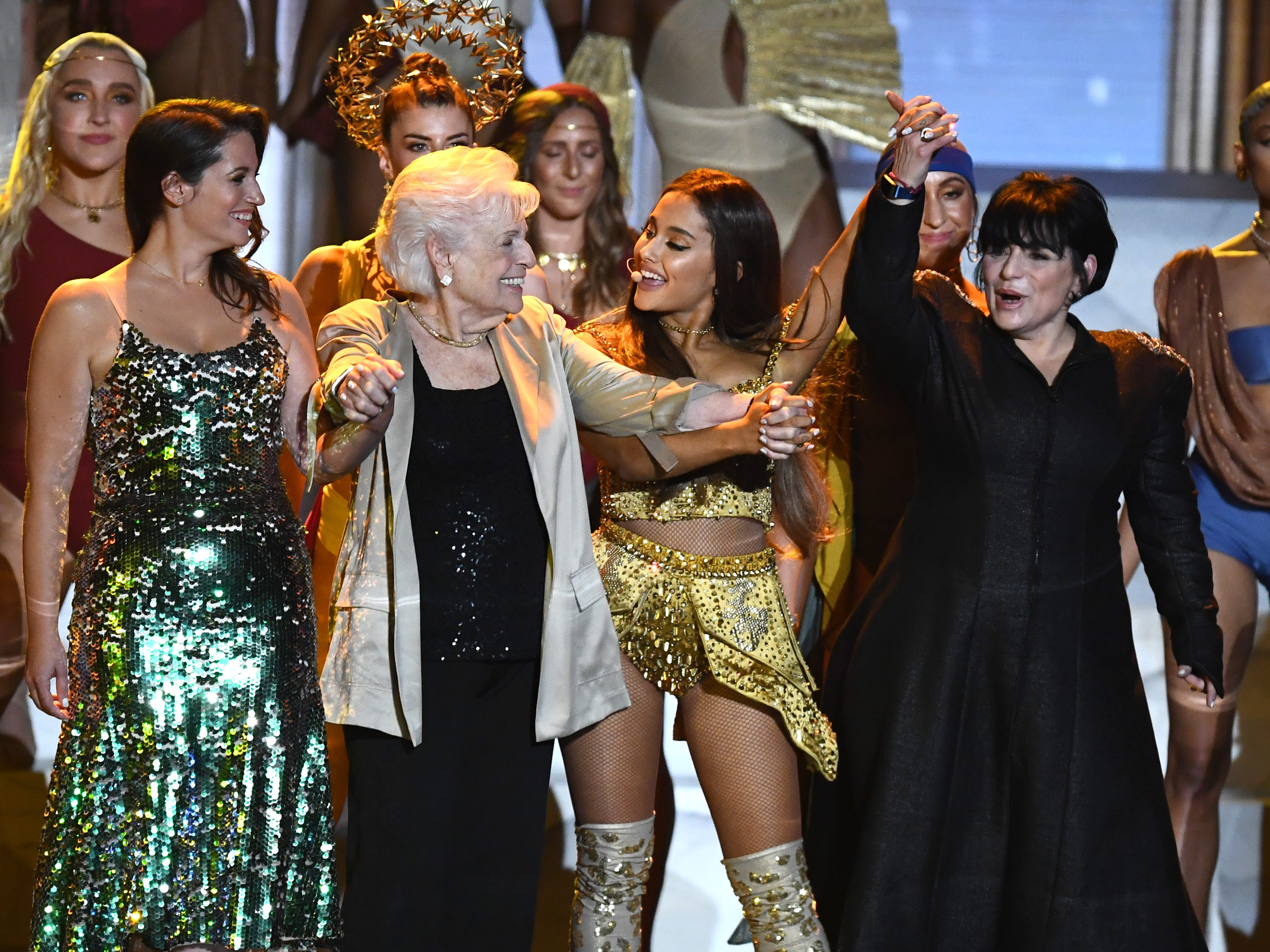 NEW YORK, NY - AUGUST 20:  (L-R) Lani Grande, Marjorie Grande, Ariana Grande, and Joan Grande perform onstage during the 2018 MTV Video Music Awards at Radio City Music Hall on August 20, 2018 in New York City.  (Photo by Noam Galai/WireImage) ORG XMIT: 775211585 ORIG FILE ID: 1020392548