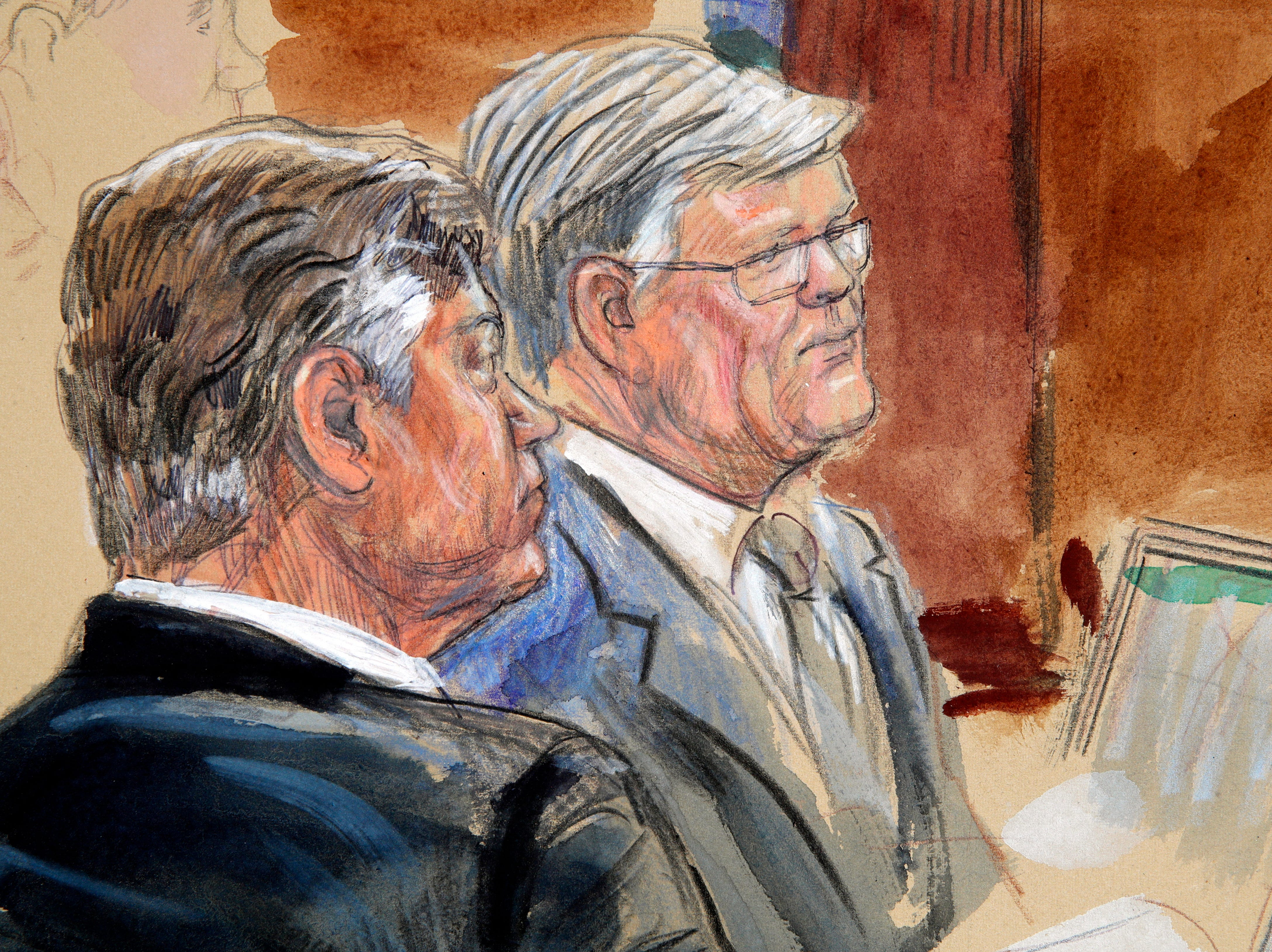 Courtroom sketch of Paul Manafort, left, in Alexandria, Virginia, on Aug. 7, 2018.
