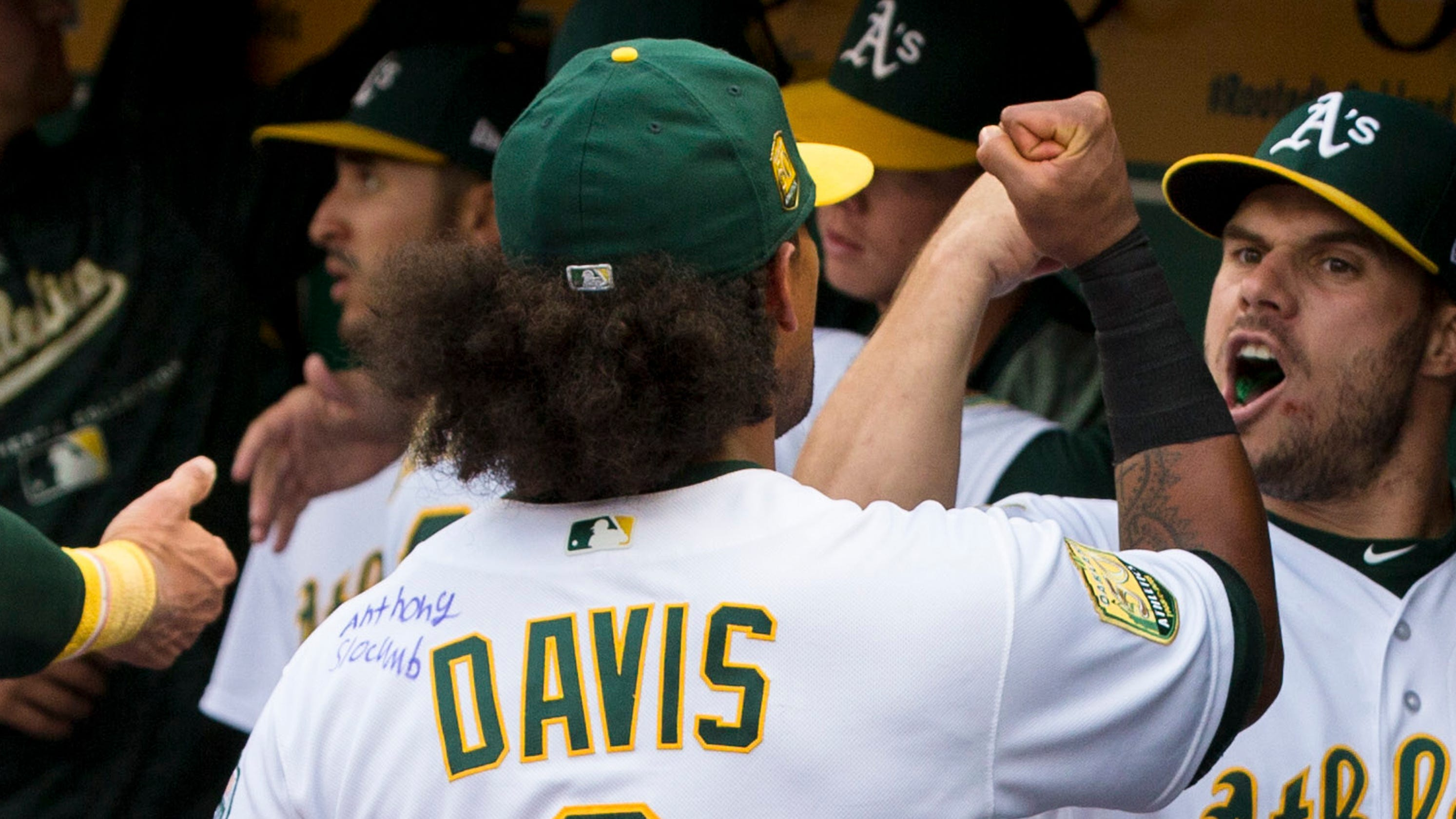 the latest c358c 16987 Khris Davis has Make-A-Wish kid sign jersey, homers while ...