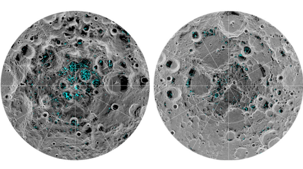 The image shows the distribution of surface ice at the moon's south pole (left) and north pole (right), detected by NASA's Moon Mineralogy Mapper instrument. Blue represents the ice locations, plotted over an image of the lunar surface.