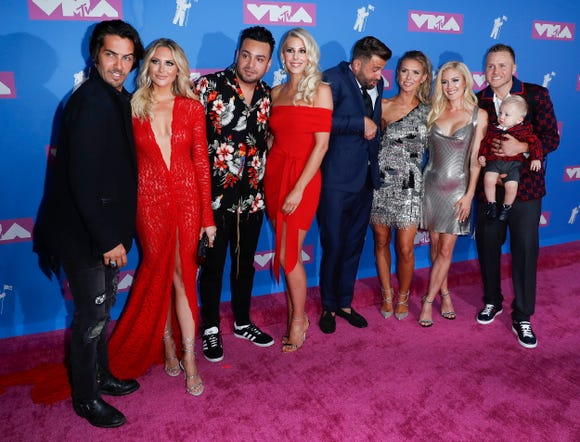 Some familiar faces showed up to the MTV Video Music Awards: (From left:) Justin Brescia, Stephanie Pratt, Frankie Delgado, Ashley Wahler, Jason Wahler, Audrina Patridge, Heidi Montag, Spencer Pratt and Gunner Pratt.