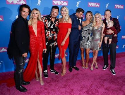 Some familiar faces showed up to the MTV Video Music Awards: (From left:) Justin Brescia, Stephanie Pratt, Frankie Delgado, Ashley Wahler, Jason Wahler, Audrina Patridge, Heidi Montag, Spencer Pratt and Gunner Pratt.