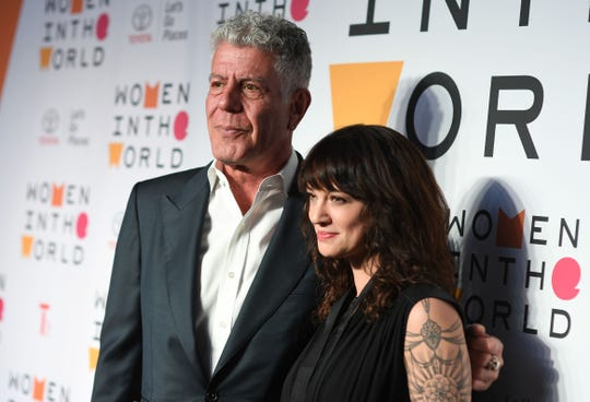 Anthony Bourdain and Asia Argento at the 2018 Women In The World Summit at Lincoln Center in New York City, April 13, 2018.
