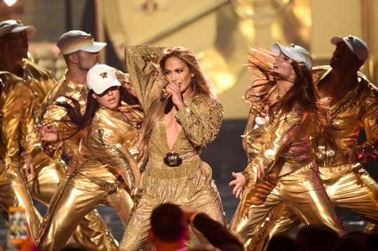 Jennifer Lopez performs at the MTV Video Music Awards.