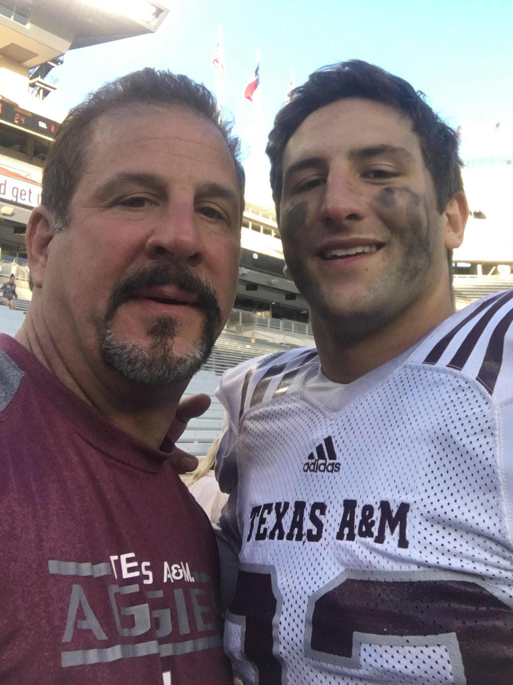 Santino Marchiol and his father, Ken,  after the Texas A&M spring game.