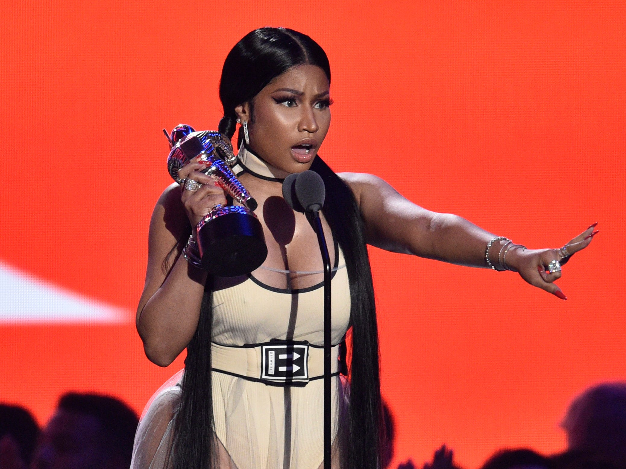 "Nicki Minaj accepts the award for best hip-hop video for ""Chun-Li"" at the MTV Video Music Awards at Radio City Music Hall on Monday, Aug. 20, 2018, in New York. (Photo by Chris Pizzello/Invision/AP) ORG XMIT: CAPM229"