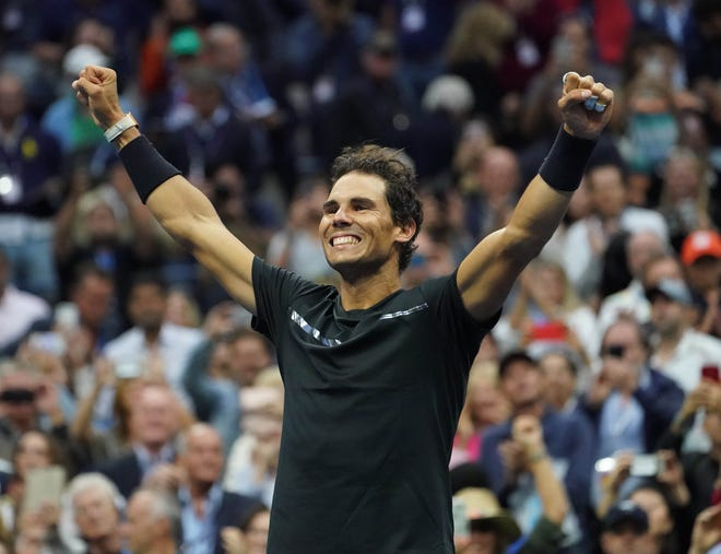 Rafael Nadal celebrates after beating Kevin Anderson in the 2017 U.S. Open men's final in Ashe Stadium at the USTA Billie Jean King National Tennis Center.
