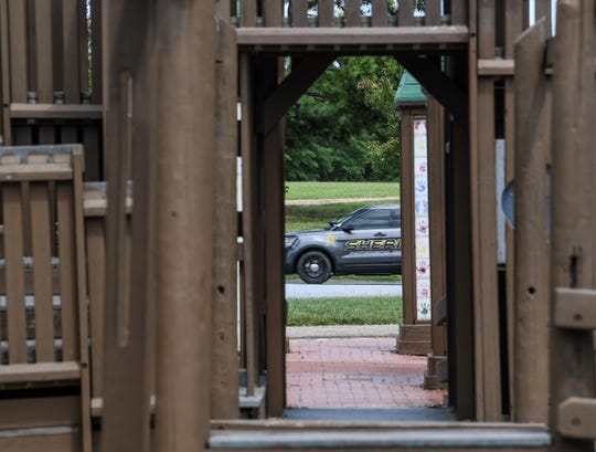 An Anderson County Sheriff's Office deputy patrols ear the Kid Venture playground at the Anderson Sports and Entertainment Center on Wednesday.