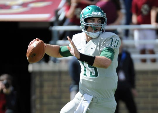 Wagner Seahawks quarterback Alex Thomson (19) gets set to make a pass during the first half against the Boston College Eagles at Alumni Stadium.