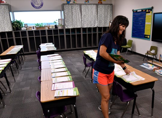 Linda Jensen, a first-grade teacher at Wylie East Elementary School, lays out math papers in preparation for her students.