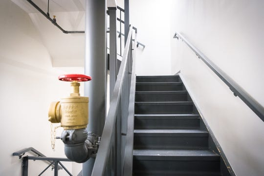 One of the stairwells in the newly-built Woods apartment buildings at UNCA. Four Asheville firefighters will be living in one of the dormitories on a volunteer, 24-hour rotation at a cost to UNCA of $2,500 a day, until dorm safety issues involving three state agencies are resolved.