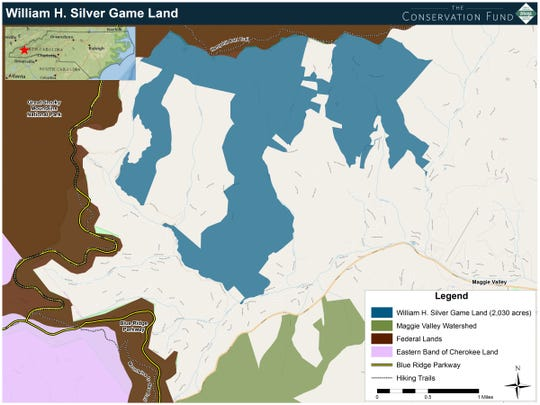 The Conservation Fund conveyed the 2,000 acres of land bordering the Great Smokies to the N.C. Wildlife Resources Commission to create the William H. Silver Game Land.