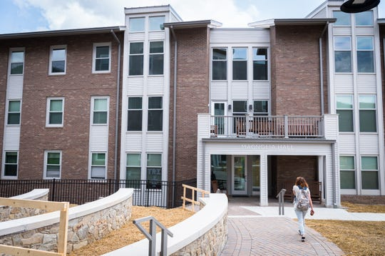 One of the newly-built Woods apartment buildings at UNCA in which four Asheville firefighters will be living on a volunteer, 24-hour rotation at a cost to UNCA of $2,500 a day.