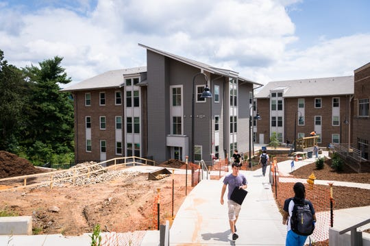 One of the newly-built Woods apartment buildings at UNCA. Four Asheville firefighters will be living in one of the dormitories on a volunteer, 24-hour rotation at a cost to UNCA of $2,500 a day.