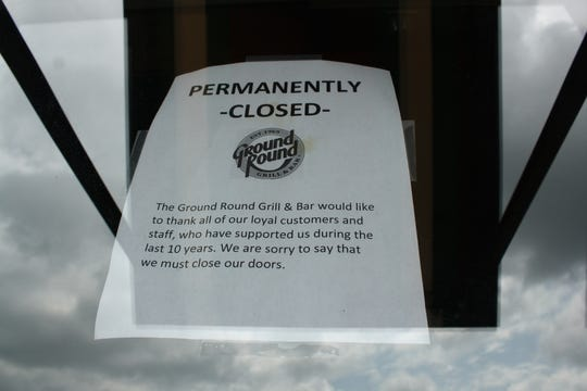 A sign posted on multiple doors of The Ground Round Bar & Grill in Johnson City indicated that the restaurant has closed its doors after 10 years.