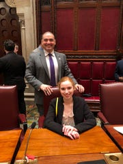 State Sen. Fred Akshar with Susquehanna Valley High School junior Kristen Allen at the 18th Students Inside Albany program.
