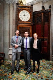 From left, Logan Blakeslee, state Sen. Fred Akshar and Kristen Allen at the 18th Students Inside Albany program.