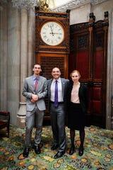 From left, Logan Blakeslee, state Sen. Fred Akshar and Kristen Allen at the 18th Students Inside Albany program.