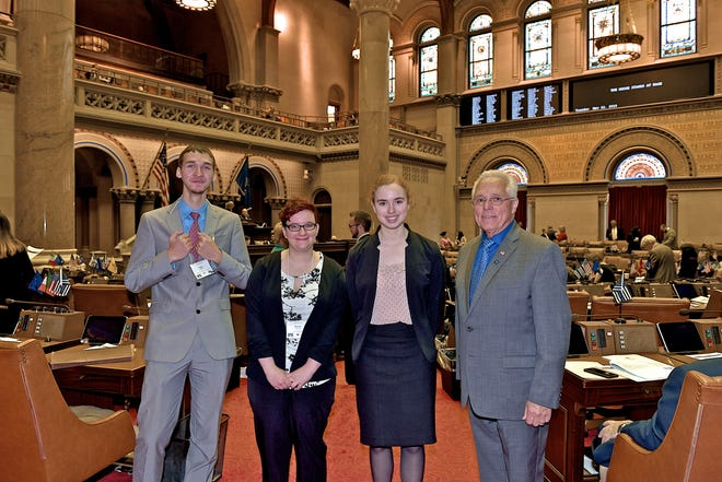 From left, Logan Blakeslee, Renate Carabba, Kristen Allen and Assemblyman Clifford Crouch at the 18th Students Inside Albany program.