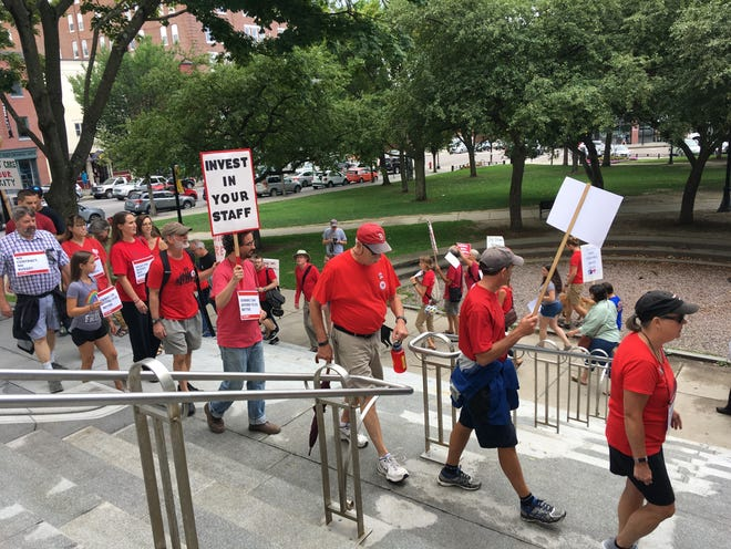 Members of the nurses union picketed a budget hearing for UVM Medical Center on Wednesday, Aug. 22, 2018.