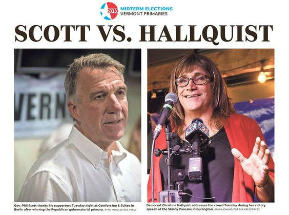 A detail shot of the front cover of the Aug. 15 edition of the Burlington Free Press shows the winners of the  Vermont gubernatorial primaries, Gov. Phil Scott, Republican, left, and Democrat Christine Hallquist.