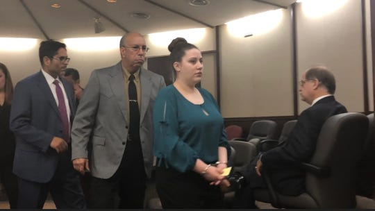 Christina Trevino appears in court on Aug. 22, 2018.