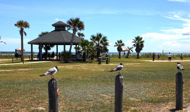 Rockport Beach Park is open and much of it has been restored. Work on the storm-damaged pavilions with showers and restrooms will begin soon.