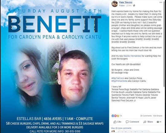 A fundraiser for Carolyn Pena, 44, and Carolyn Cantu, 27, is set for Saturday, Aug. 25, 2018, at Estella's Bar, 4836 Ayers Street. Cantu and Pena were killed after being shot in the 2900 block of Mary Street on Friday, Aug. 17, 2018.