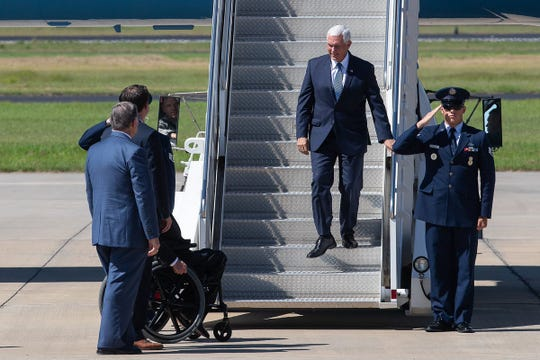 Vice President Mike Pence steps off Air Force Two on Wednesday, Aug. 22, 2018 as he arrives at the Corpus Christi International Airport. His South Texas visit was to mark the one year anniversary of Hurricane Harvey.