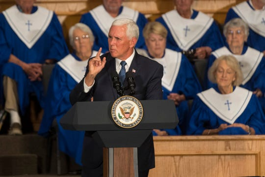 Vice President Mike Pence speaks before a crowd at First Baptist Church in Rockport on Wednesday, Aug. 22, 2018. His return visit to South Texas coincided with the one year anniversary of Hurricane Harvey.