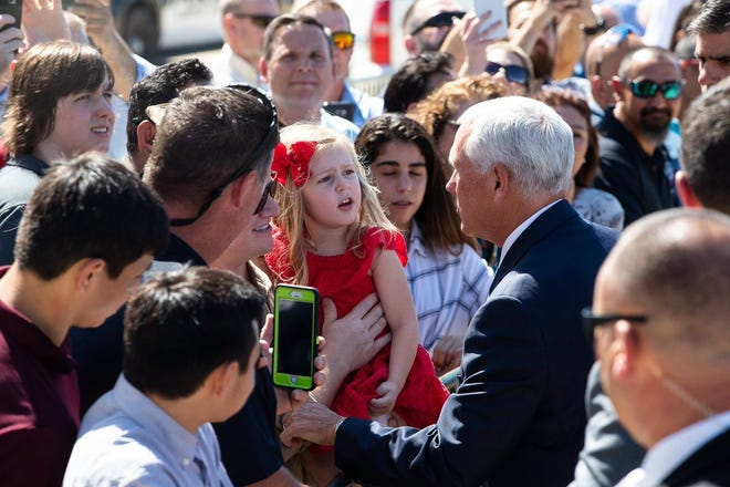 Vice President Mike Pence greets the crowd on Wednesday, Aug. 22, 2018 as he arrives at the Corpus Christi International Airport. The South Texas visit was to mark the one year anniversary of Hurricane Harvey.
