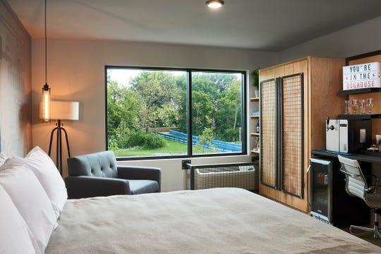 A bedroom inside BrewDog's beer hotel, the DogHouse