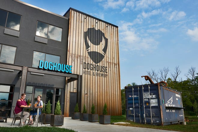 The exterior of the DogHouse, the world's first beer hotel owned by BrewDog.