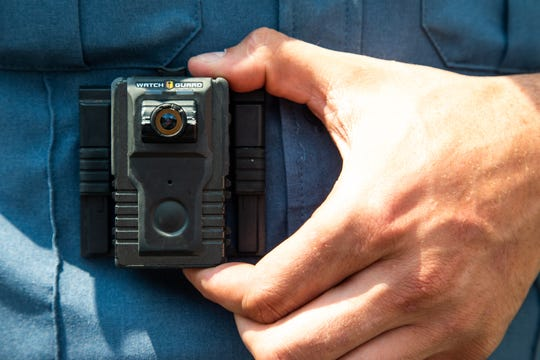 Deputy Charles Bryant wears a body camera while on shift Tuesday, Aug. 14, 2018, in Montgomery County.