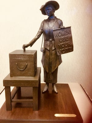 A maquette of the Clarksville suffragist statue is in the Custom House Museum. The full-size statue will be erected in Clarksville in time for the 2020 anniversary.