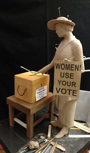Maquette of the Clarksville suffragist statue under construction