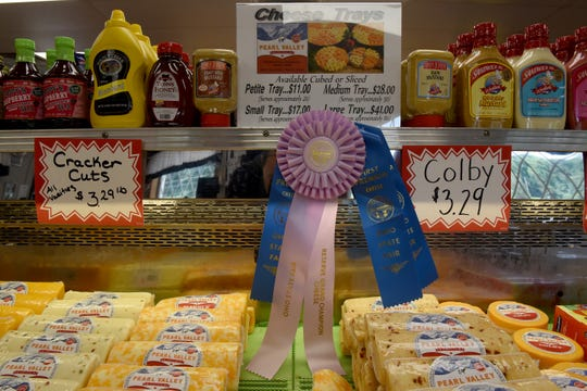 Displays of cheese in the marketplace at Pearl Valley Cheese in Fresno,
