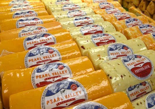 Displays of cheese in the marketplace at Pearl Valley Cheese in Fresno are seen in this Tribune file photo. The retail store is still open, but the cheese cutting counter is closed as a health and safety precaution during the COVID-19 pandemic. The full line of cheeses is available in pre-packaged forms in the store and online.