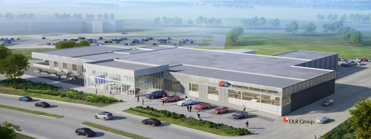 The Des Moines Area Community College intends to expand their automotive education facility, named in honor of Karl Chevrolet, which donated $1 million to the project on Wednesday, Aug. 22, 2018. A rendering depicts the facility once finished.