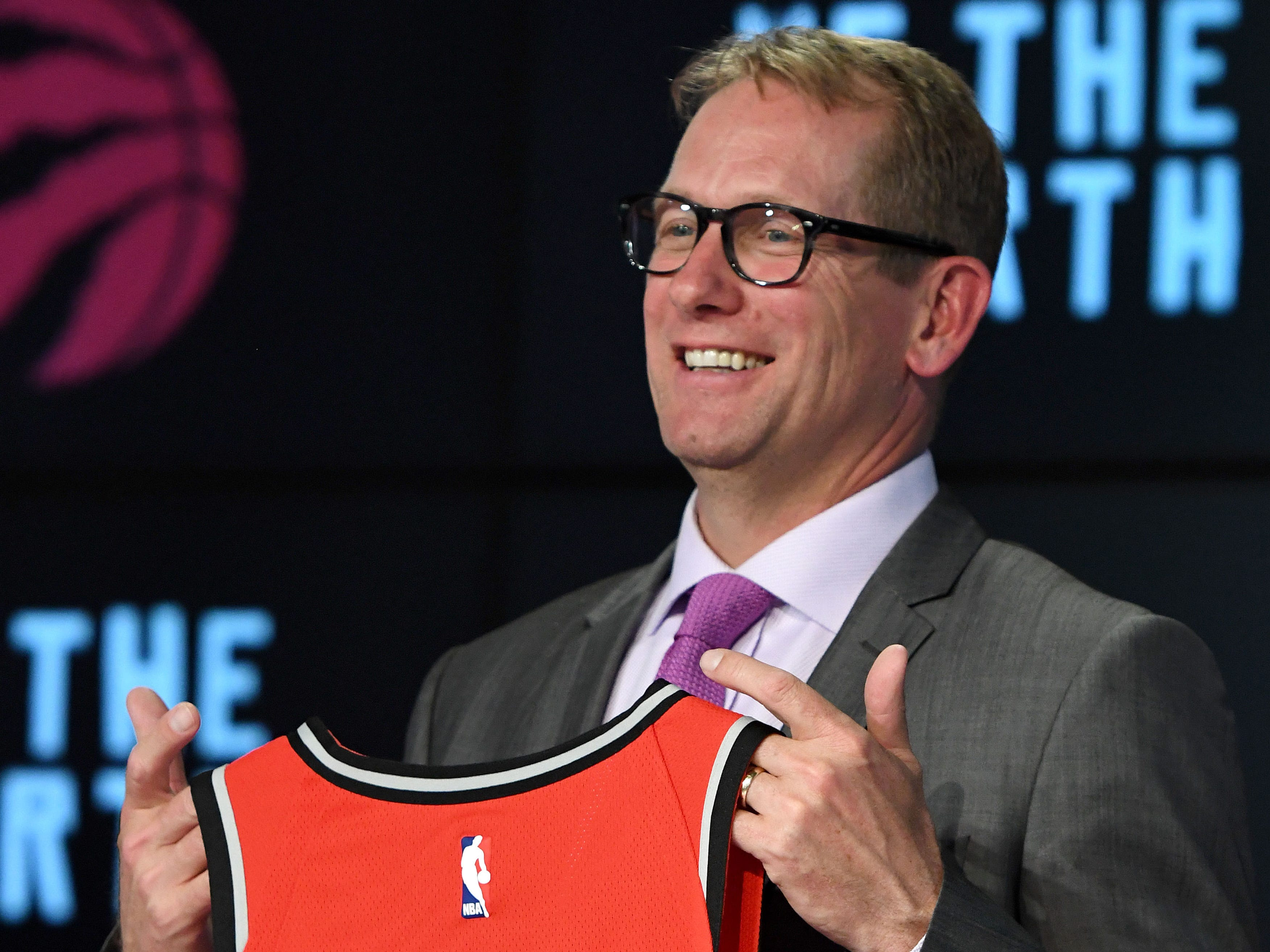 Toronto Raptors new head coach Nick Nurse poses for pictures after an introductory news conference at Air Canada Centre.