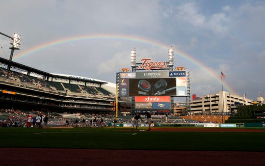 A rainbow is shown over Comerica Park before a baseball game between the Detroit Tigers and Chicago Cubs in Detroit, Tuesday, Aug. 21, 2018.