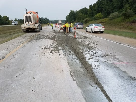 A construction site on I-69 in Clinton County where a motorcycle drove through wet cement on August 20, 2018.