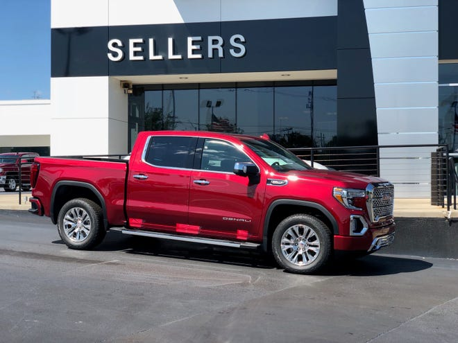 This red 2019 GMC Sierra Denali arrived at Sellers Buick GMC on Monday