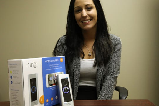 The Ring doorbell sold at Prudential Alarm by Security System Specialist Rachel Murray, at her office in Oak Park, Mich. on Tuesday, Aug, 21, 2018.n