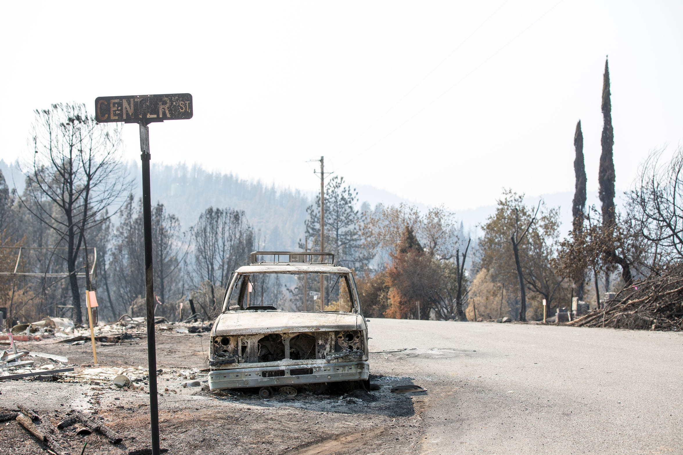 The town is decimated following the Carr fire tornado in Keswick, Calif., Tuesday, August 21, 2018.