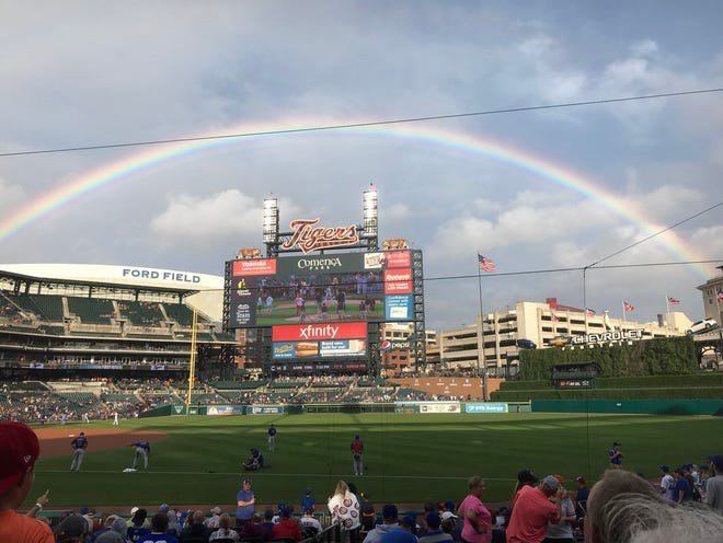 A rainbow appeared over the Detroit Tigers scoreboard during an Aretha Franklin tribute. The Tigers hosted the Cubs, beating Chicago 2-1, on Tuesday, August 21, 2018.