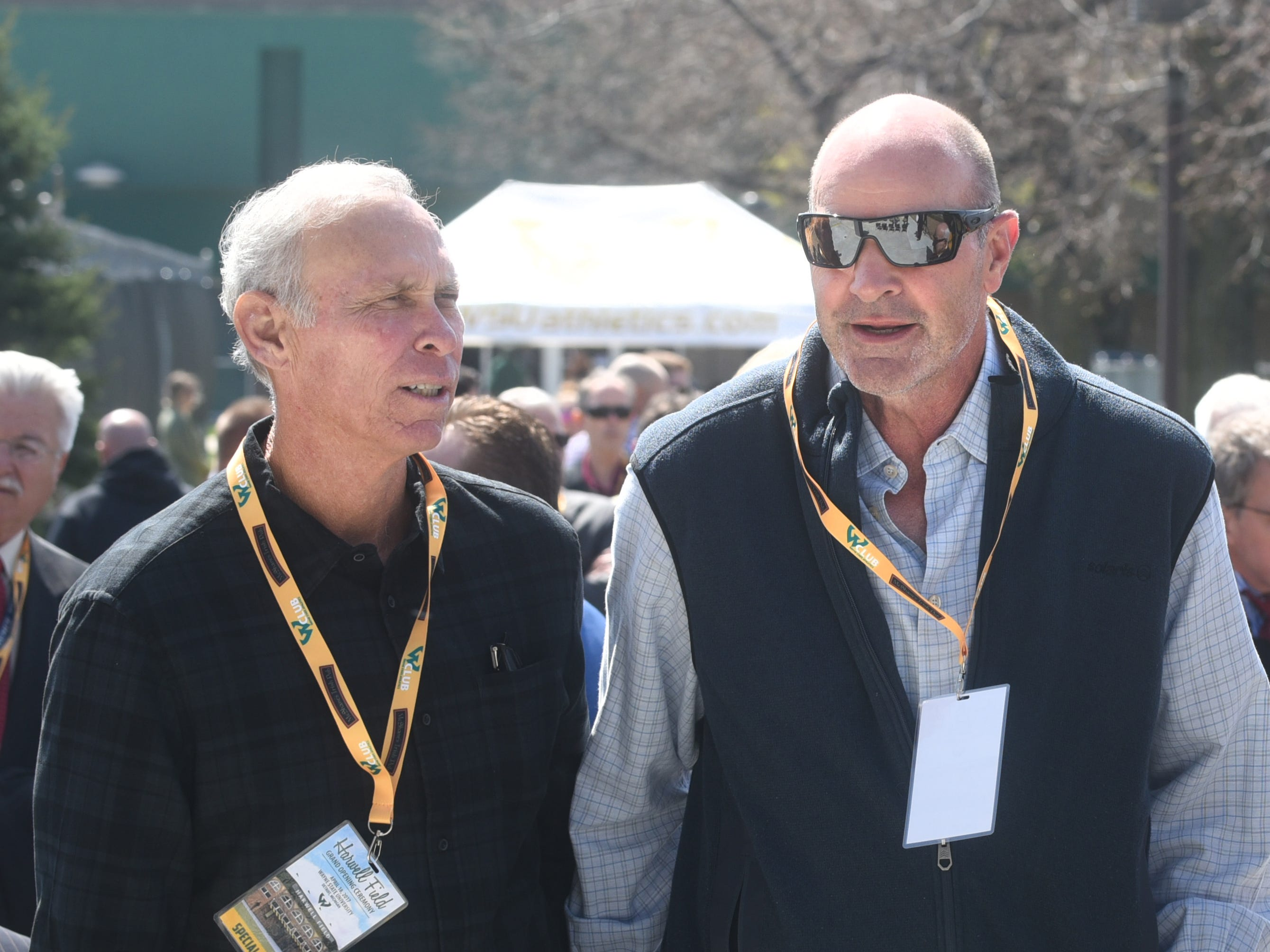 "Trammell and Gibson participate in the dedication of Ernie Harwell Field at Wayne State on April 18, 2017.  Trammell says Gibson is ""a brilliant man, and when he gets into something, he does it full bore. I've never met anybody like him. When it came to competitiveness, Sparky (Anderson) used to say, Pete Rose and Kirk Gibson, they're at the top."""